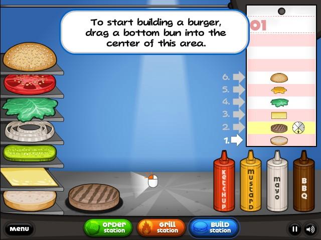 papa burger games online