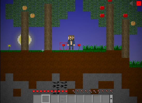 Minecraft 2d mine blocks screenshot